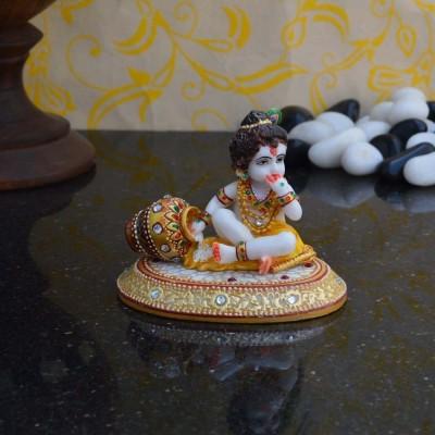 eCraftIndia Laddu Gopal eating Makhan Marble All Purpose Chowki