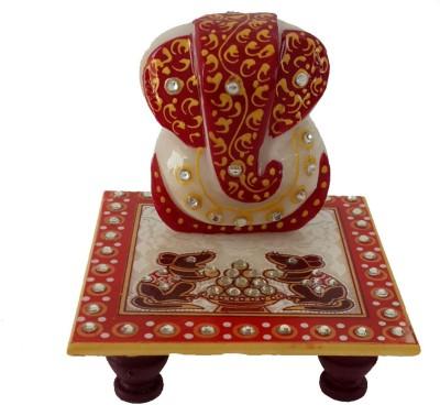 Divinecrafts Makrana Marble Kundan Studded Ganesh Idol Marble All Purpose Chowki