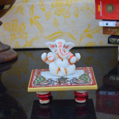 eCraftIndia Chaturbhuj Lord Ganesha on Marble Chowki Marble, Polyresin All Purpose Chowki