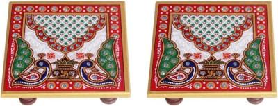 Handicrafts Paradise Marble Pooja Chowki(Multicolor)