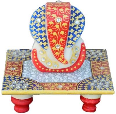 eCraftIndia Lord Ganesha Marble All Purpose Chowki