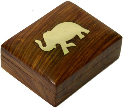 Craftuno Handcrafted Wooden Jewellery Box Utility Vanity Box(Brown)