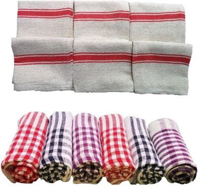 XYZ Textiles Combo Pack of 12 for Kitchen & Floor Wet and Dry Cotton Cleaning Cloth