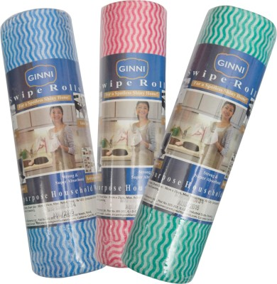 Ginni Kitchen Swipe Roll (Multi-purpose House Holding Wipe) Dry Polyester Cleaning Cloth(Pack of 3)
