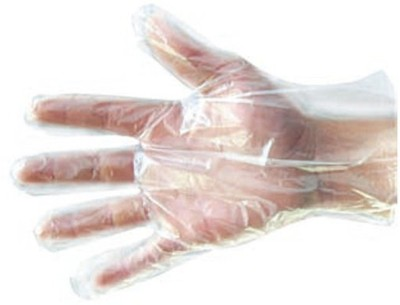 Rudham Disposable Polythene Transparent Clear Plastic Kitchen Gloves Wet and Dry Disposable Glove Set(Large Pack of 5)