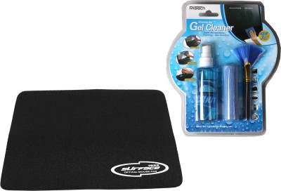 RiaTech Combo Of (KCL-1031) 3 in 1 Gel Cleaning Kit & Black Mousepad for Computers, Laptops