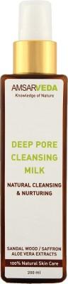 Amsarveda Deep Pore Cleansing Milk, 100% Natural with Sandalwood, Saffron & Aloe Vera