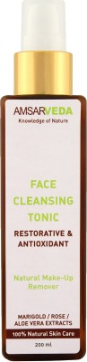 Amsarveda Face Cleansing Tonic, 100% Natural - with Marigold, Pure Rose & Aloe Vera