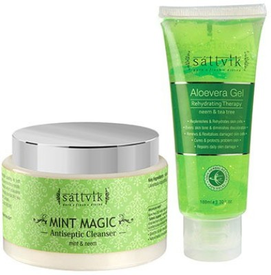 Sattvik Organics ALOEVERA GEL Cool Combo PLUS- (ALOEVERA GEL 100gm, Mint Magic 100gm)