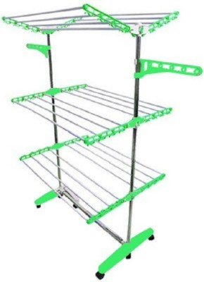 Favour Import Quality Green Stainless Steel, Plastic Floor Cloth Dryer Stand