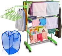 Kawachi Mild Steel with ABS Plastic Laundry With Basket Bag & 6 pcs Hanger Combo Plastic Floor Cloth Dryer Stand(Multicolor)