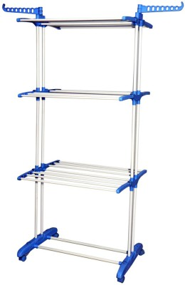 Curve Iron, Nylon Floor Cloth Dryer Stand(White, Blue)