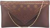 Contrast Women Party Brown, Gold  Clutch