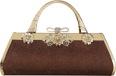 Naitik Products Women Party Brown, Gold  Clutch