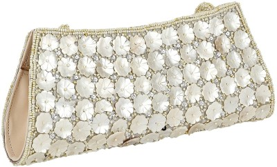 Gold Zari House Casual, Party, Festive White, Beige  Clutch