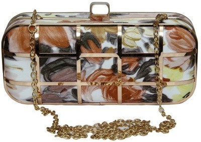 FASHION REDEFINED Brown, Gold, Multicolor  Clutch