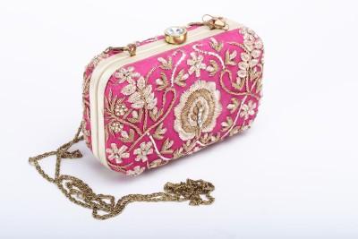 Silk&Sequins Women Formal Pink, Gold  Clutch