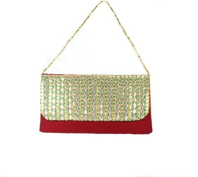 Arisha kreation Co Women Party Red, Green  Clutch