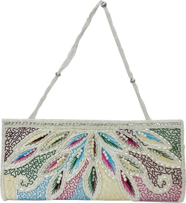 X-WELL Wedding, Party, Festive White, Multicolor  Clutch