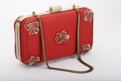 Silk&Sequins Women Formal Red, Gold  Clutch