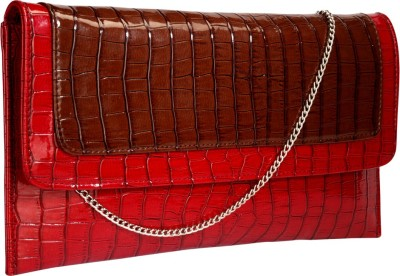 Contrast Girls Party Red, Brown  Clutch