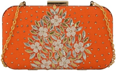 Arisha kreation Co Party Orange  Clutch