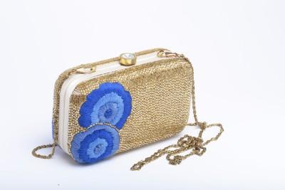 Silk&Sequins Women Wedding Gold, Blue  Clutch