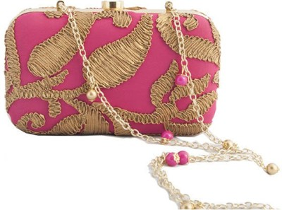The Creative Hub Women Party Pink  Clutch