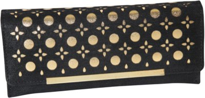 Kuero Casual, Wedding, Party Black, Gold  Clutch