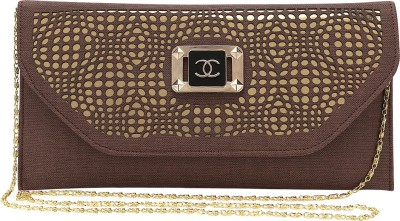 Spectrum Bags Casual, Party Brown, Gold  Clutch