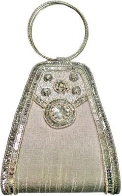 Bhamini Women Party Silver  Clutch