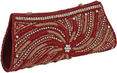 Gold Zari House Casual, Party, Festive Red, Gold  Clutch