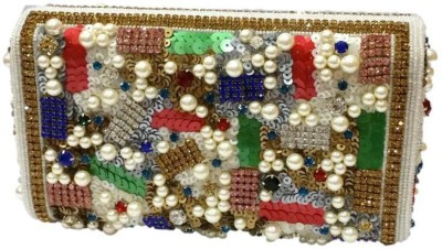 Bling It On Party, Wedding, Festive Multicolor, White  Clutch