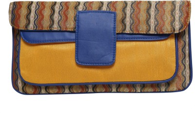 Anekaant Women Casual, Party Yellow, Blue  Clutch
