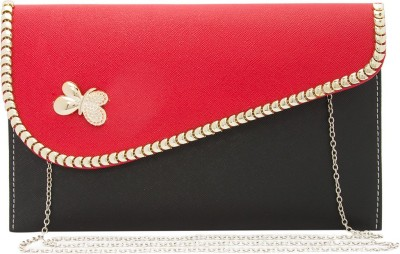 Polki Casual, Party Red, Black  Clutch