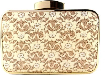 Anmita Wedding, Party, Festive, Formal White, Gold  Clutch