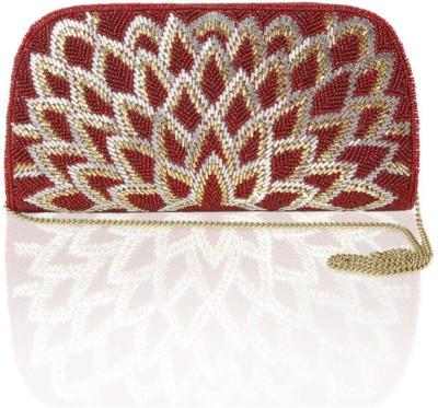 Sparkle Street Women Party Red, Gold  Clutch