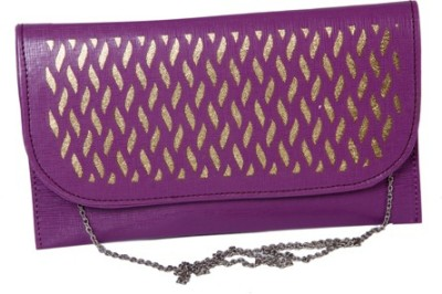 Kuero Wedding, Party, Festive Purple, Gold  Clutch