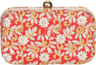 Advika Women Party Gold, Red, White  Clutch