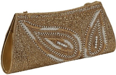 Gold Zari House Casual, Party, Festive Gold, White  Clutch