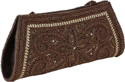 Gold Zari House Casual, Party, Festive Brown  Clutch
