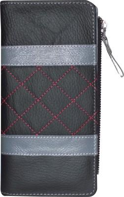 Kan Kan Black and Grey Genuine Leather Designer Wallet for Women