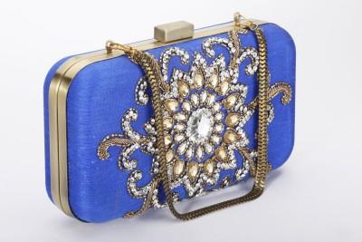 Silk&Sequins Women Party Blue, Gold  Clutch