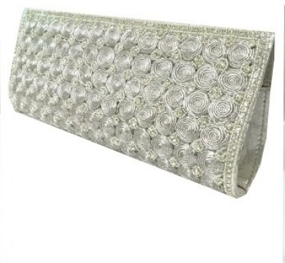 Abqa Women Casual, Party, Wedding Silver  Clutch