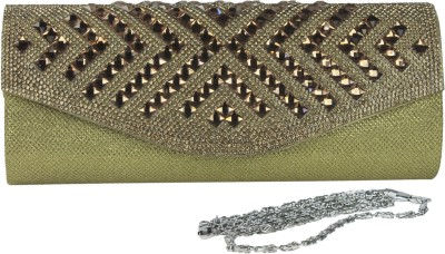 Dolna Women, Girls Casual, Festive, Party Gold  Clutch