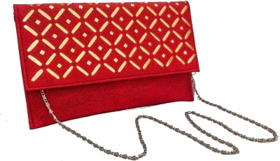Walletmania Women, Girls Party, Festive, Wedding, Casual, Formal Red, Gold  Clutch