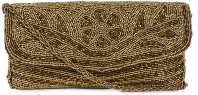 Anshul Fashion Casual Gold  Clutch