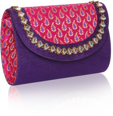 Sparkle Street Women Party Purple, Pink, Gold  Clutch