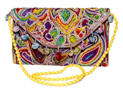 Sampoornam India Wedding, Party, Formal, Festive Blue, Multicolor  Clutch
