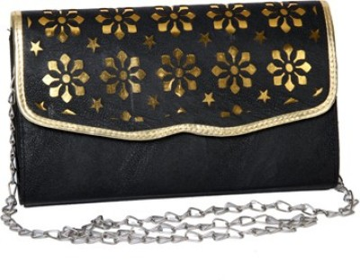 Kuero Party, Casual, Festive Gold, Black  Clutch